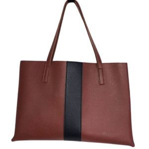 Vince Camuto Rust/Black Pebbled Luck Tote